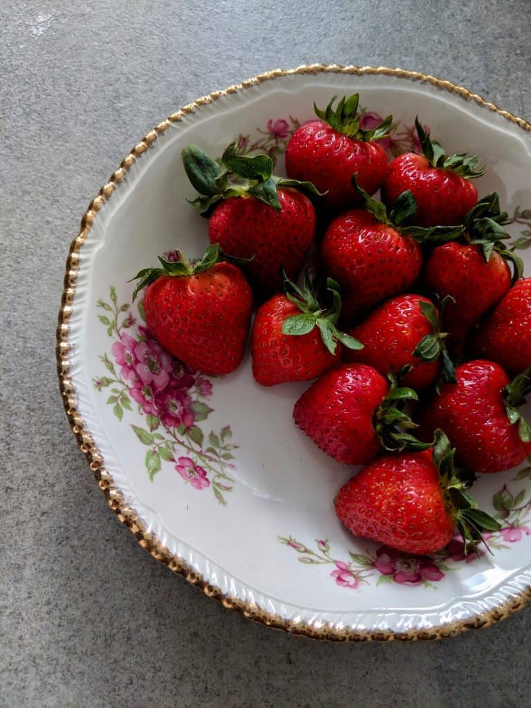 Strawberries in a floral bowl
