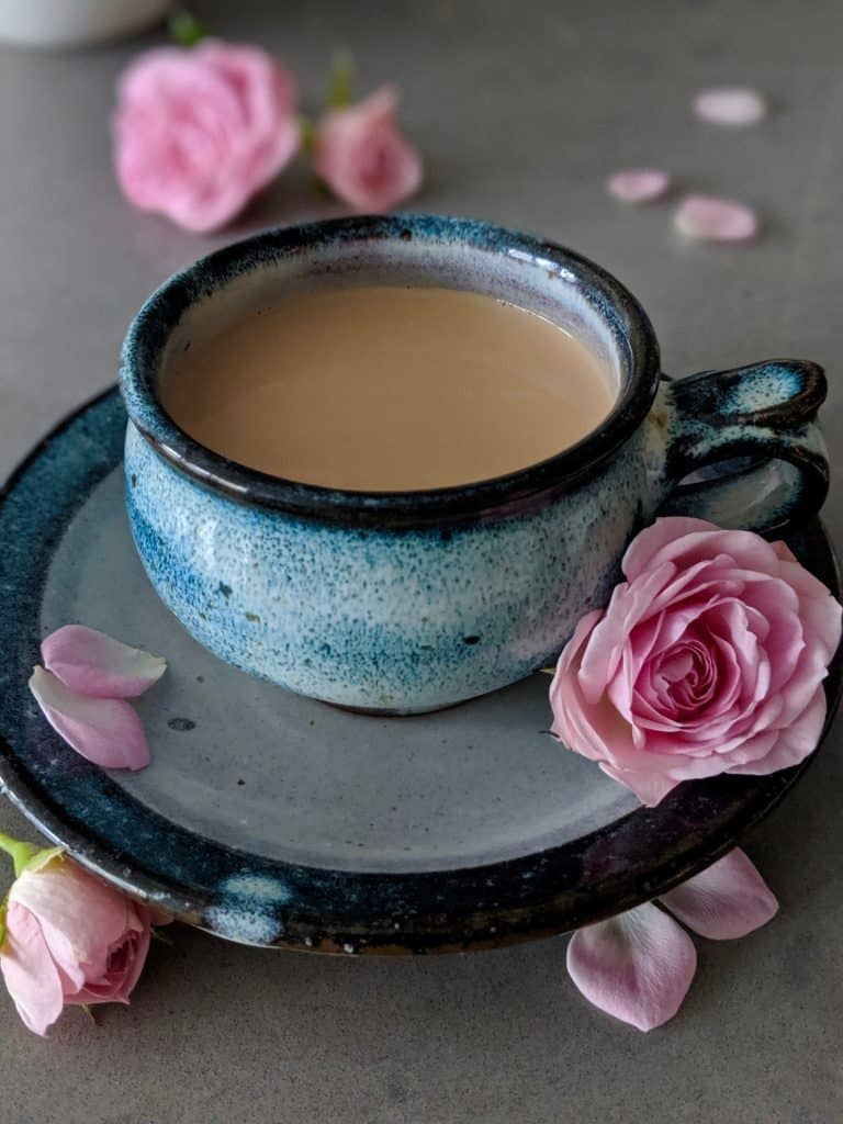 The Japanese royal milk tea is shown in a beautiful Japanese ceramic teacup.