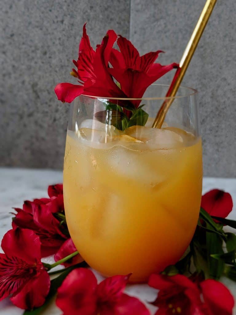 A glass of Bahamas rum punch, garnished with tropical, red flowers.