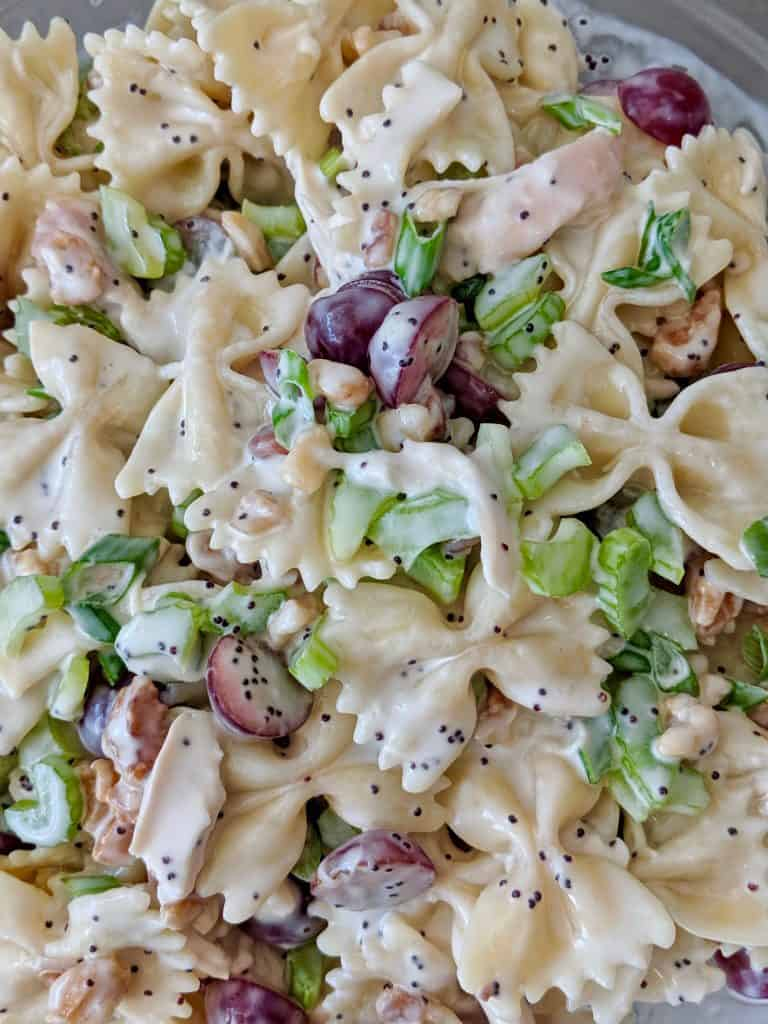 A close up of the pasta salad.