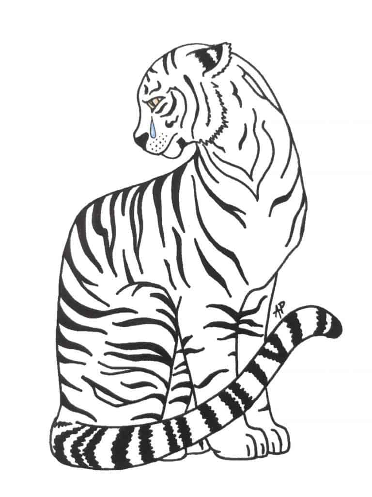 Asha's sketch of a crying tiger