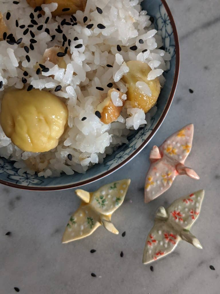 Serve Japanese chestnut rice sprinkled with roasted black sesame seeds.
