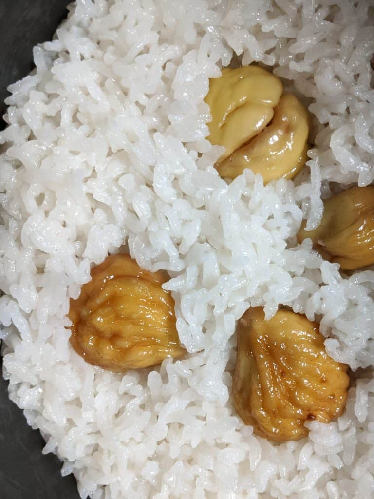 The rice will wrap around the chestnuts as the Japanese chestnut rice cooks, becoming infused with nutty flavour.