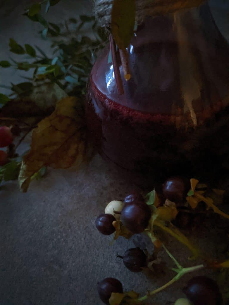 Port wine vinaigrette is a gorgeous shade of deep red.