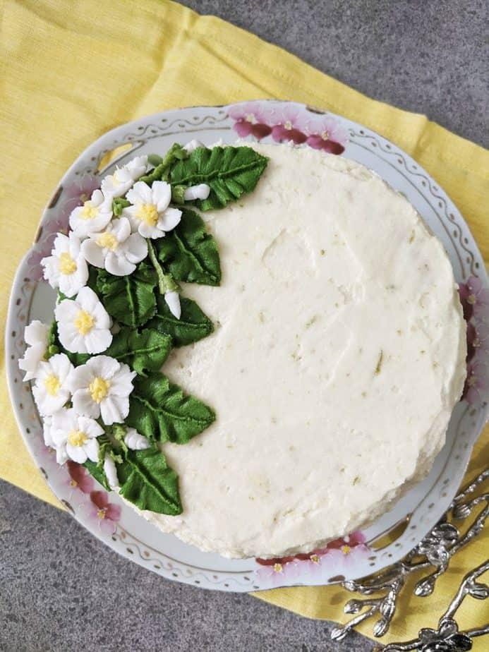 An overhead shot of a lemongrass cake.