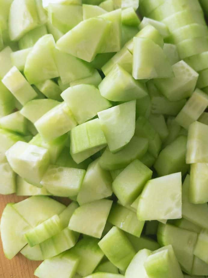 Peeled and chopped cucumber pieces.