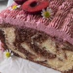 A close up of the inside of marble cake.
