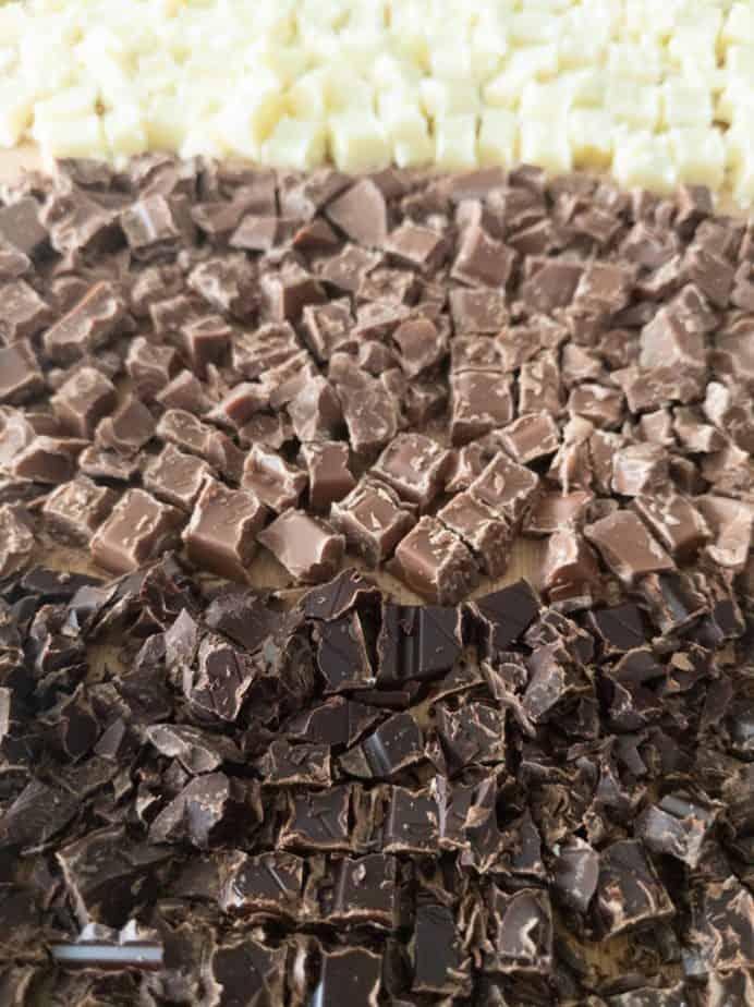 Chopped white, milk, and dark chocolate.
