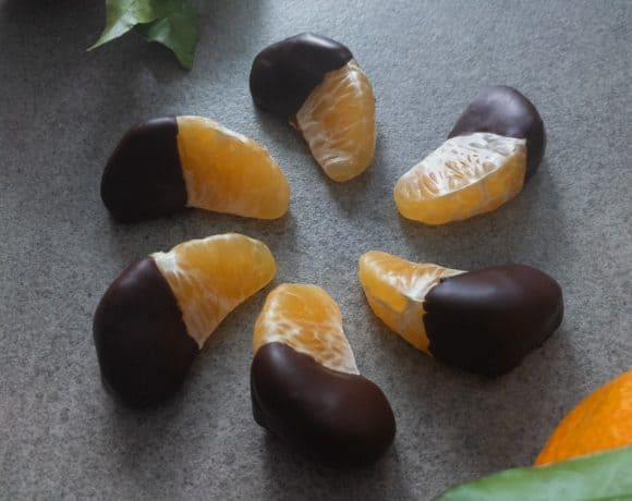 Clementine slices dipped in tempered chocolate.