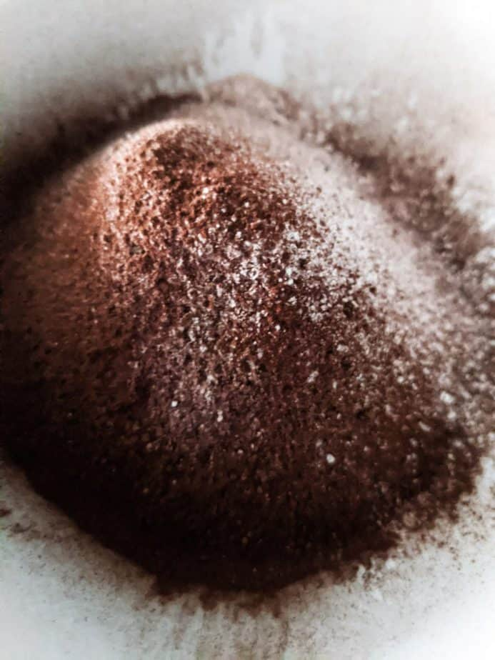 Flour, dutch-processed cocoa, and salt are sifted together.