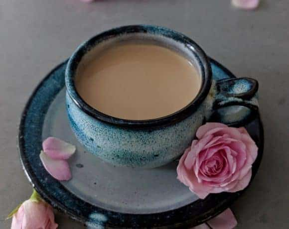 The Japanese royal milk tea in a beautiful Japanese ceramic teacup with pink roses.