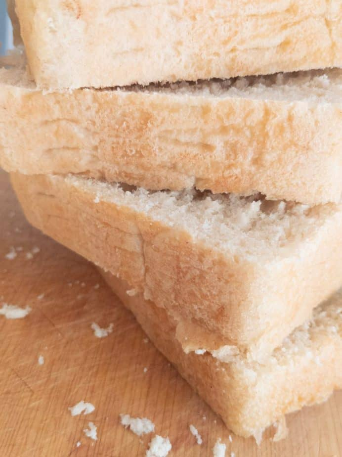 A closeup of thickly sliced bread.