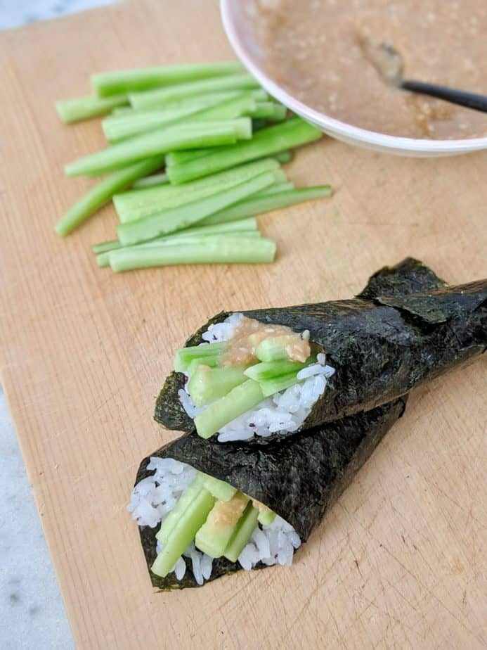 Two sesame cucumber hand rolls