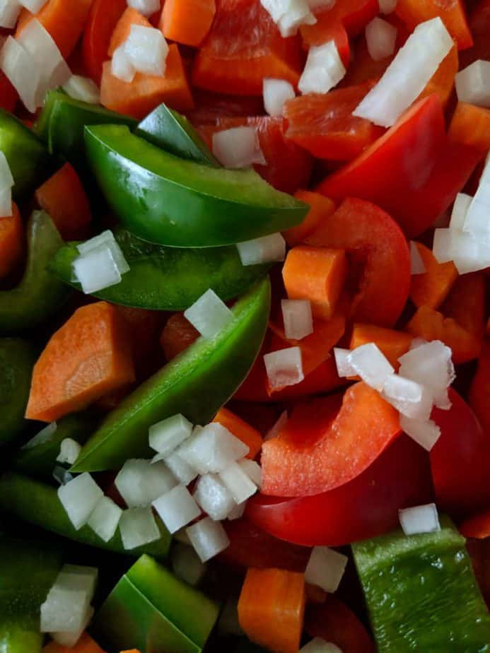 Chopped assorted vegetables