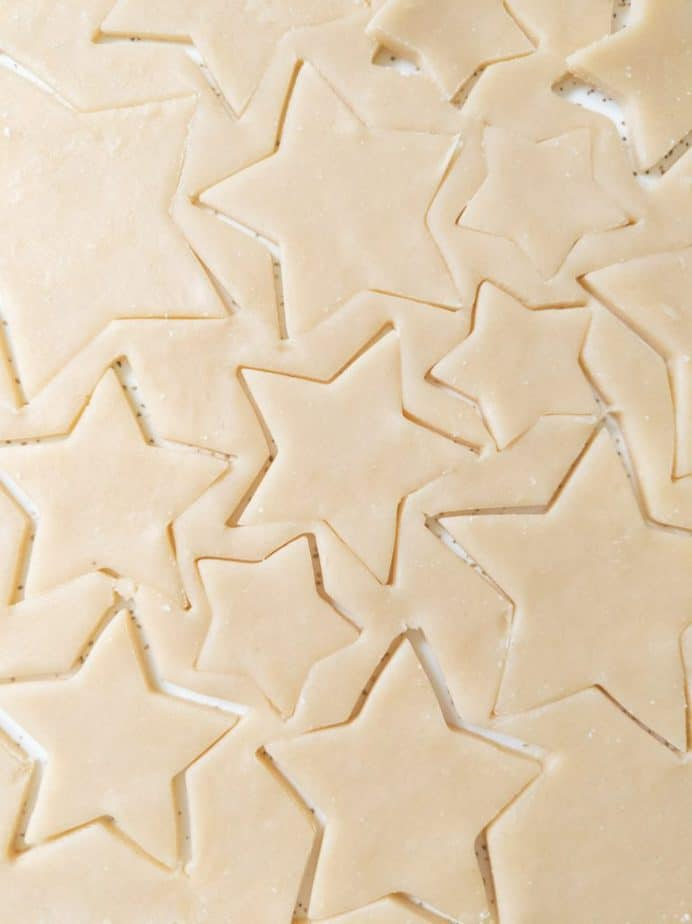Sugar cookie dough with star cut-outs