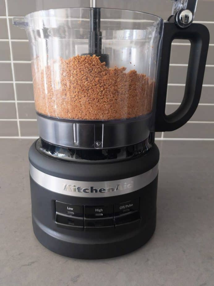 Ground hazelnuts in a food processor.