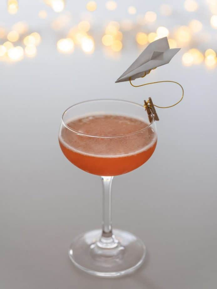 A side view of the cocktail.